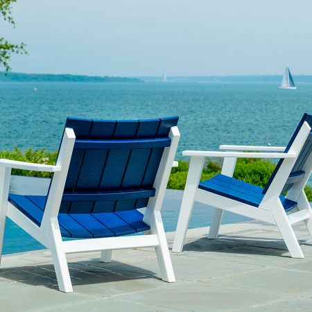 A Couple Of Seaside Casual Mad Fusion Navy And White Chat Chairs