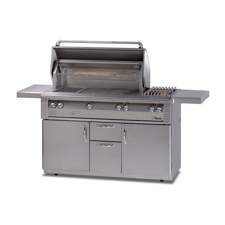 Alfresco 56″ Sear Zone Grill with Side Burner on Deluxe Cart