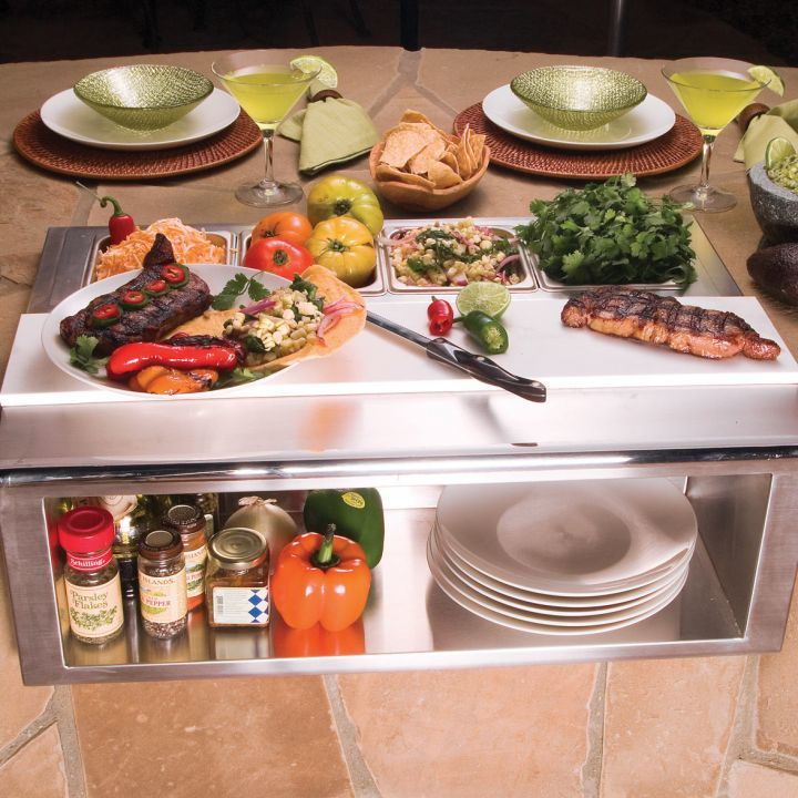 Alfresco APS 30P Plate and Garnish Rail With Food Pans