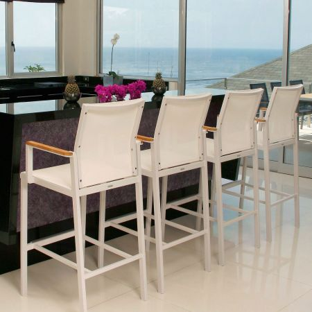 Barlow Tyrie Aura Counter Chairs Shown Indoors.