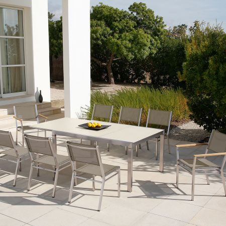 Barlow Tyrie Equinox Asymmetric 83-60X43inch Extension Dining Table Shown With 2-Arm Chairs & 6-Side ChairsBarlow Tyrie Equinox Asymmetric 83 60X43inch Extension Dining Table Shown With 2-Arm Chairs & 6-Side Chairs