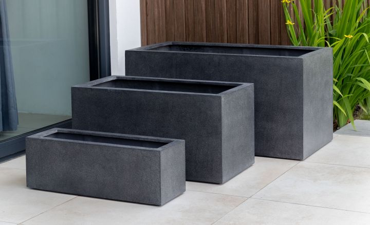 Campania Fiberglass Sandal Planter Charcoal P-Lite All Sizes