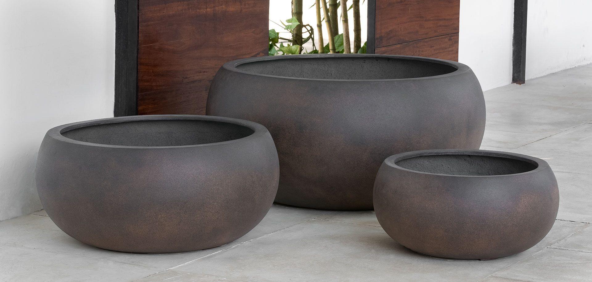 Campania Fiberglass Chalmsworth Bowl Planter Rust Lite All
