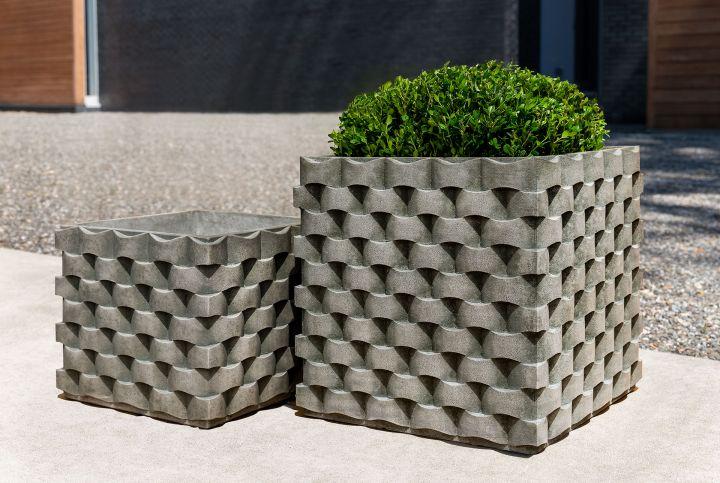 Campania M Weave Square Planter Cast Stone All Sizes