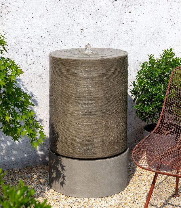 Campania Ribbed Cylinder Fountain Cast Stone