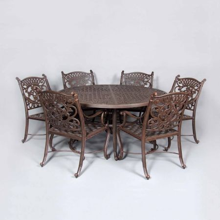 Cast Classics Brenna 60 Round Dining Table Shown With Premium Dining Chairs