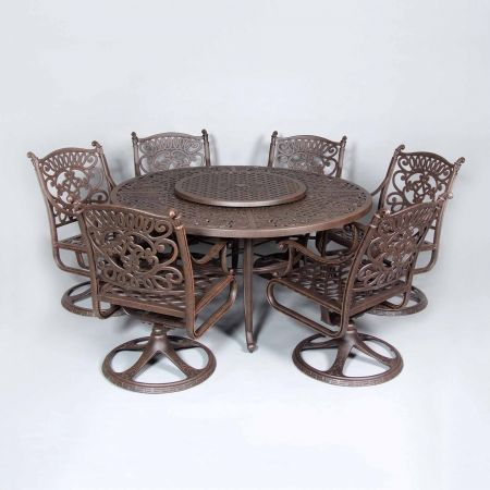 Cast Classics Brenna 60 Round Dining Table Shown With Premium Swivel Dining Chairs and Lazy Susan