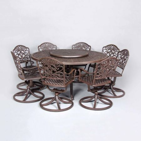 Cast Classics Brenna 60 Round Dining Table Shown With Standard Swivel Dining Chairs and Lazy Susan