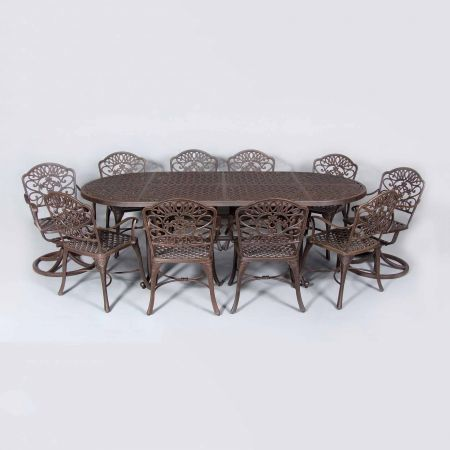 Cast Classics Brenna 96x42 Oval Dining Table Shown With Standard Swivel and Dining Chairs