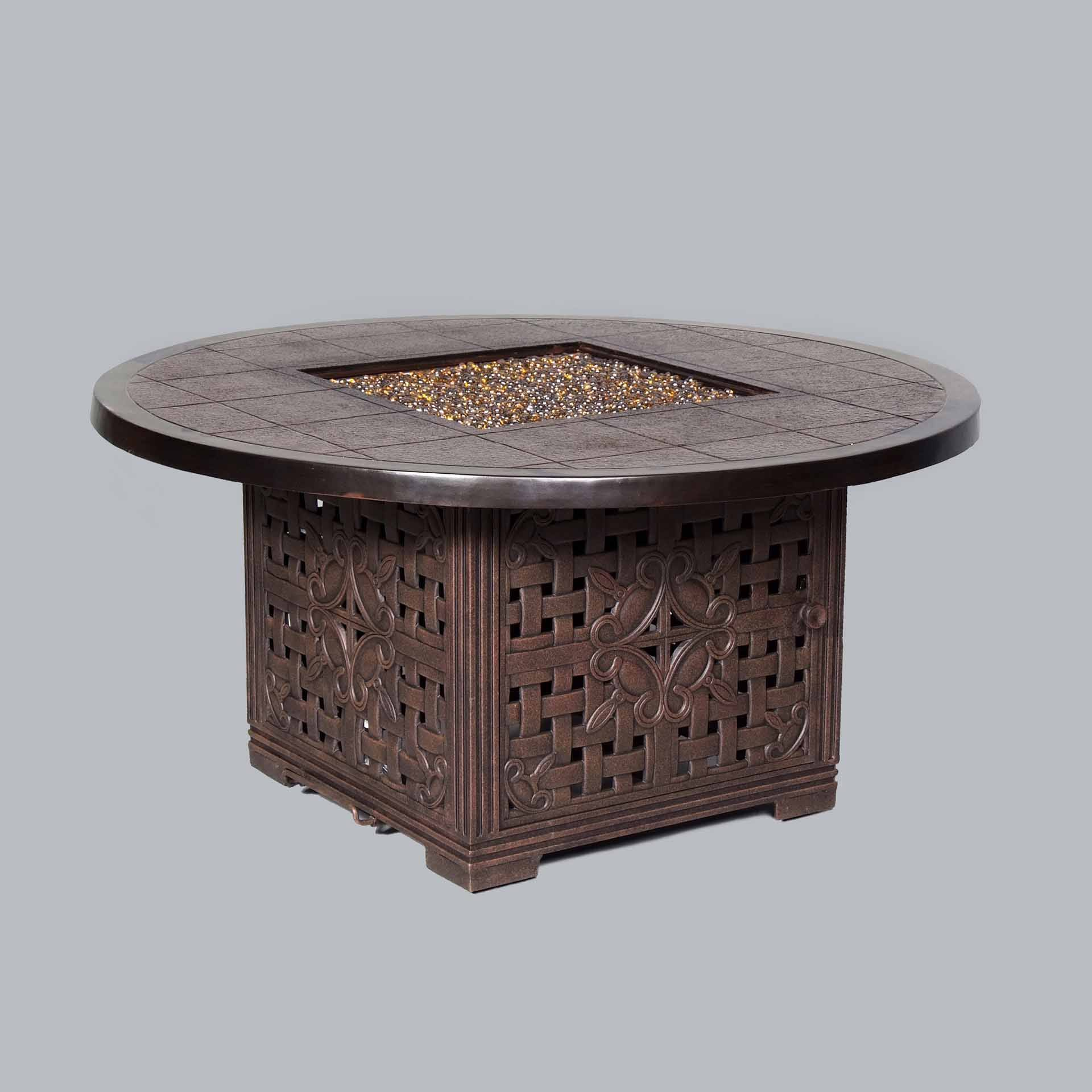 Cast Classics Brenna Gas Fire Pit with Glass Leisure Living