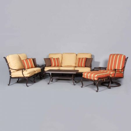 Cast Classics Brenna Sofa, Loveseat, Club Swivel Rocker, Ottoman, Coffee Table, and Square End Tables