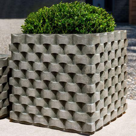 Close Up Of Campania Tall M Weave Square Planter Cast Stone