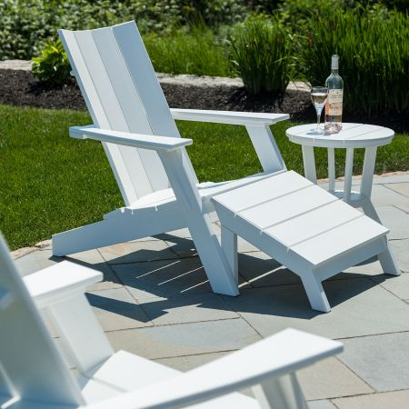 Close Up Of Seaside Casual Mad Fusion White Adirondack Chairs Shown With An Ottoman And Side Table