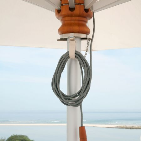 Closeup Of Mechanisms On The Barlow Tyrie 13' Pulley Lift Umbrella