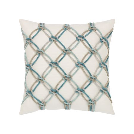 Elaine Smith Aqua Rope Throw Pillow