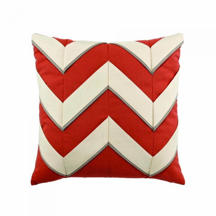 Elaine Smith Coral Cruise Chevron Throw Pillow