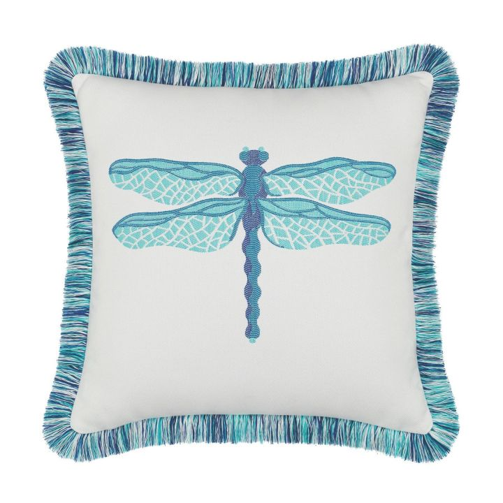 Elaine Smith Fringed Dragonfly Pool Throw Pillow