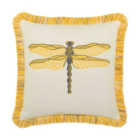 Elaine Smith Fringed Dragonfly Sun Throw Pillow