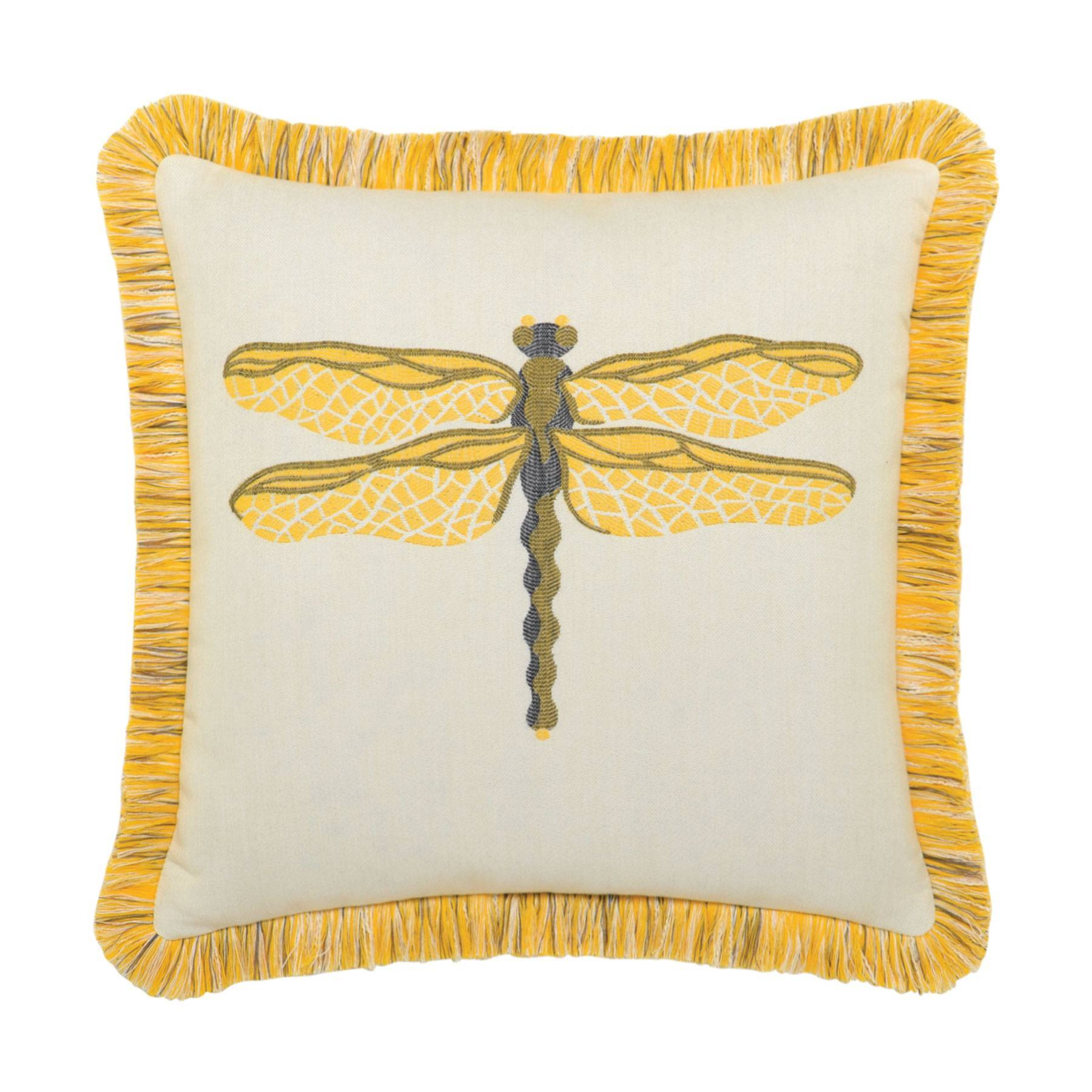 Elaine Smith Fringed Dragonfly Sun Throw Pillow Leisure