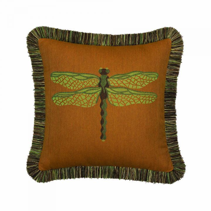 Elaine Smith Fringed Nutmeg Dragonfly Throw Pillow