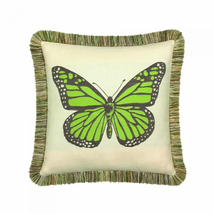 Elaine Smith Fringed Peridot Butterfly Throw Pillow