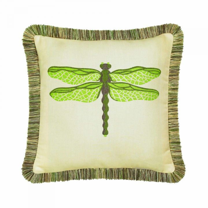 Elaine Smith Fringed Peridot Dragonfly Throw Pillow