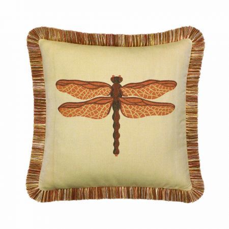 Elaine Smith Fringed Spice Dragonfly Throw Pillow