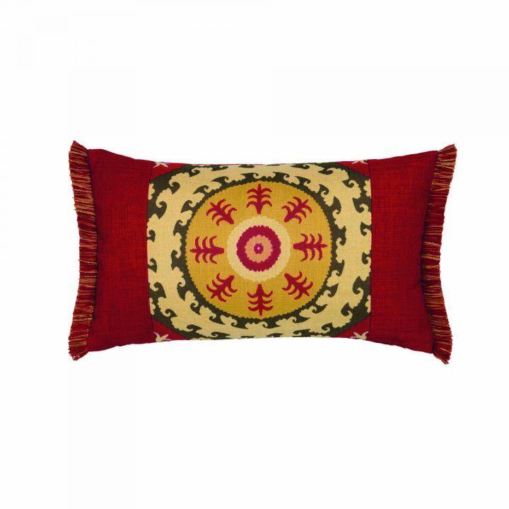 Elaine Smith Fringed Suzani Lumbar Pillow