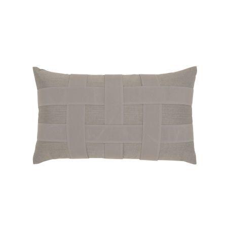 Elaine Smith Gray Basketweave Lumbar Pillow