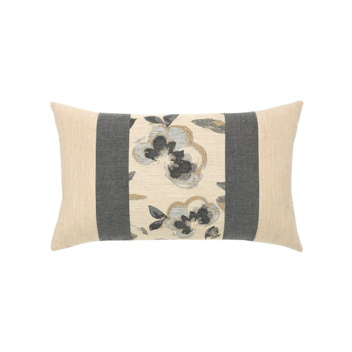 Elaine Smith Grigio Floral Lumbar Pillow