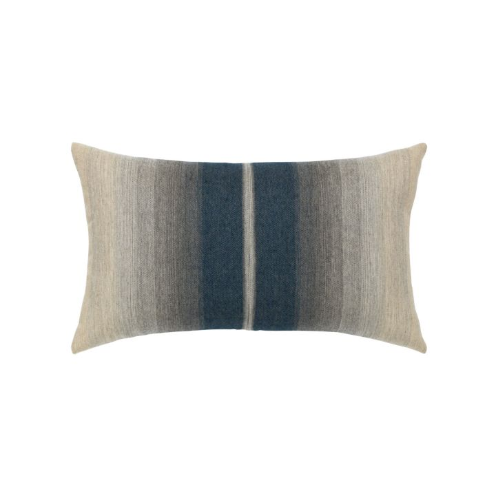 Elaine Smith Ombre Indigo Stripe Lumbar Pillow