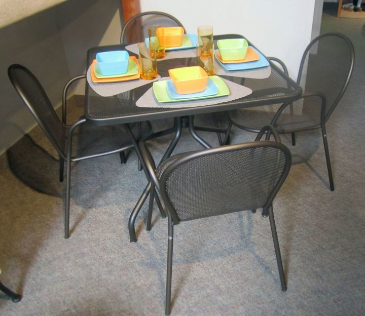 Emu 36 Square Ant. Bronze Dining Table With Rhonda Chairs