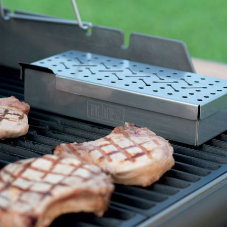 Flavoring Pork Chops On The Grill With The Use Of A Weber Smoker Box