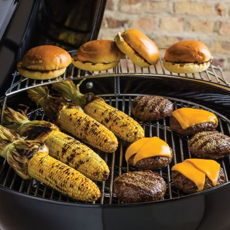 Grilling Cheese Burgers,Corn On The Cob Along With Toasted Buns On The Weber Master Touch Charcoal Grill