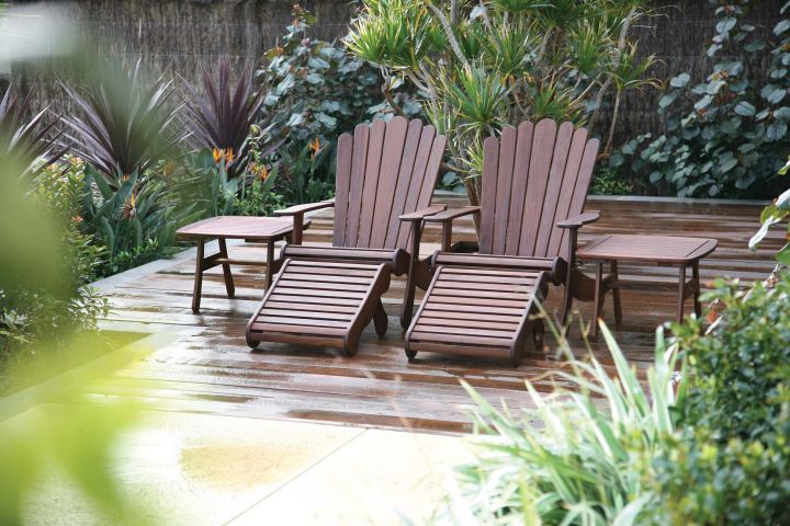 Jensen Leisure Adirondack Ottoman Shown with Adirondack Chair and End Table Group
