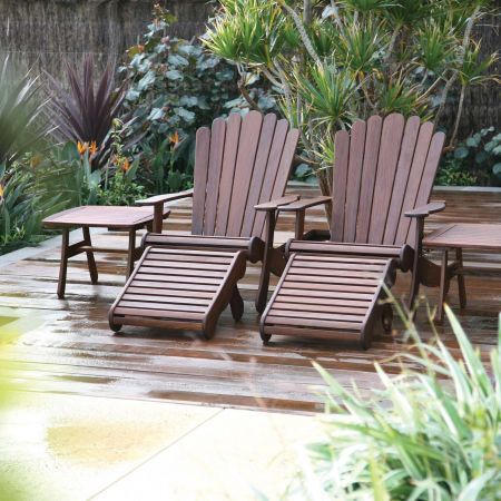 Jensen Leisure Adirondack Chair Shown with Ottoman and End Table Group