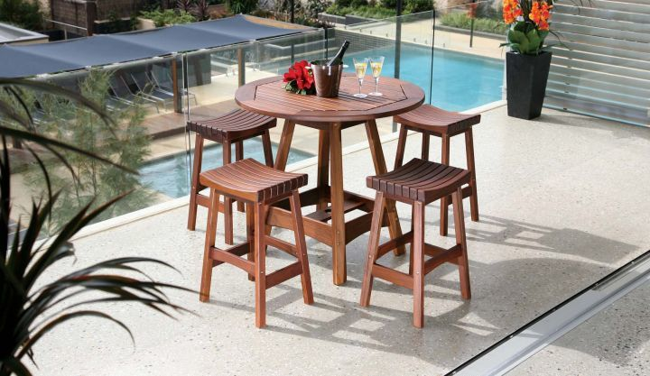 Jensen Leisure Sunset Backless Stool shown with Capri Hi Dining Table