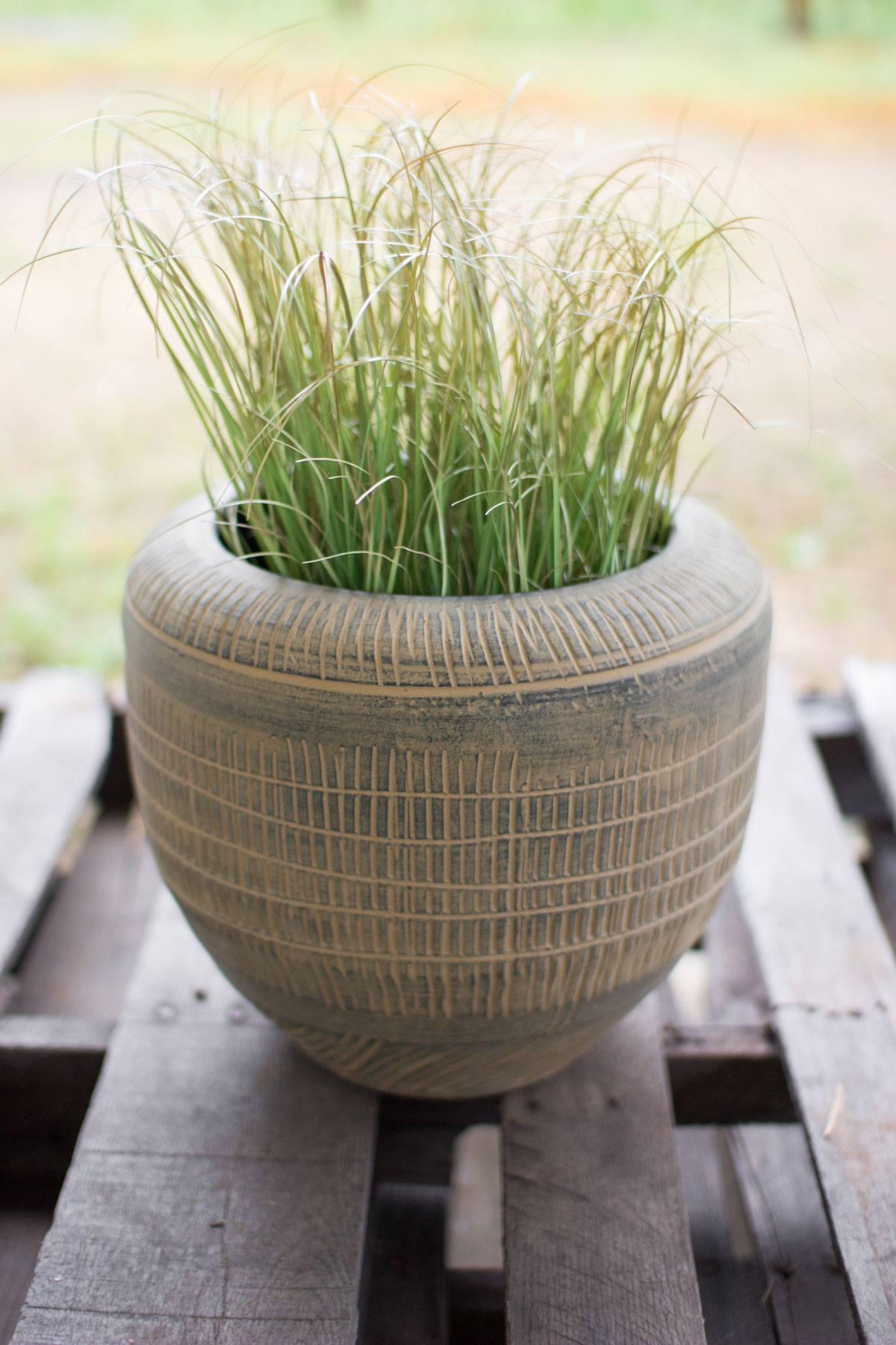 Kalalou Antique Mustard Ceramic Pot Leisure Living