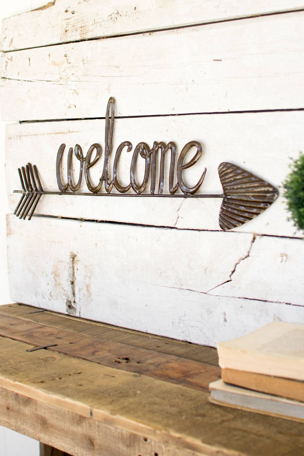 Kalalou Hand Hammered Welcome With Arrow Leisure Living