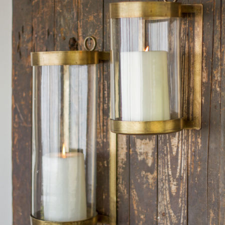 Kalalou Large or Small Antique Brass Glass Lanterns
