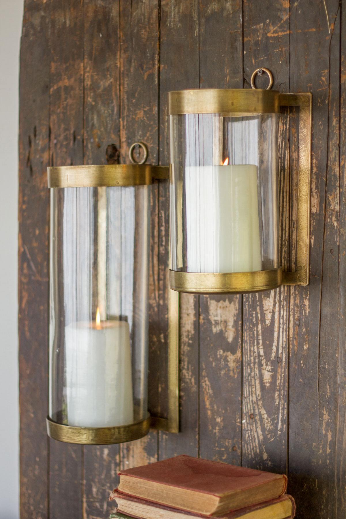Kalalou Large Or Small Antique Brass Glass Lanterns Leisure Living