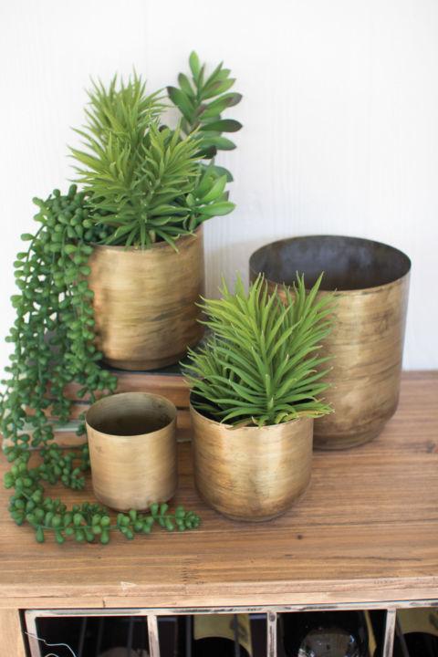 Kalalou Metal Flower Pots in Aged Brass Finish