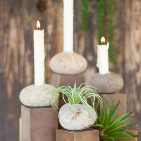 Kalalou River Stone Air Plant or Candle Holder on Wood Base