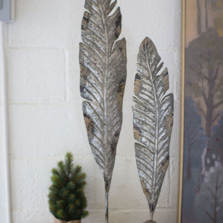 Kalalou Set of Painted Metal Leaf Sculptures