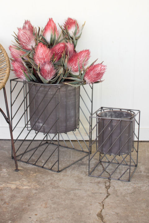 Kalalou Set of Square Iron Stands with Grey Pots