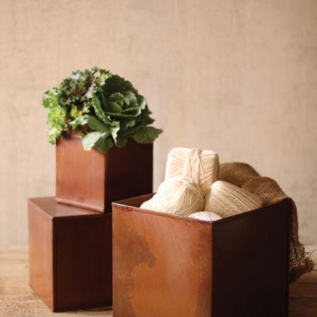 Kalalou Set of Square Rustic Metal Pots