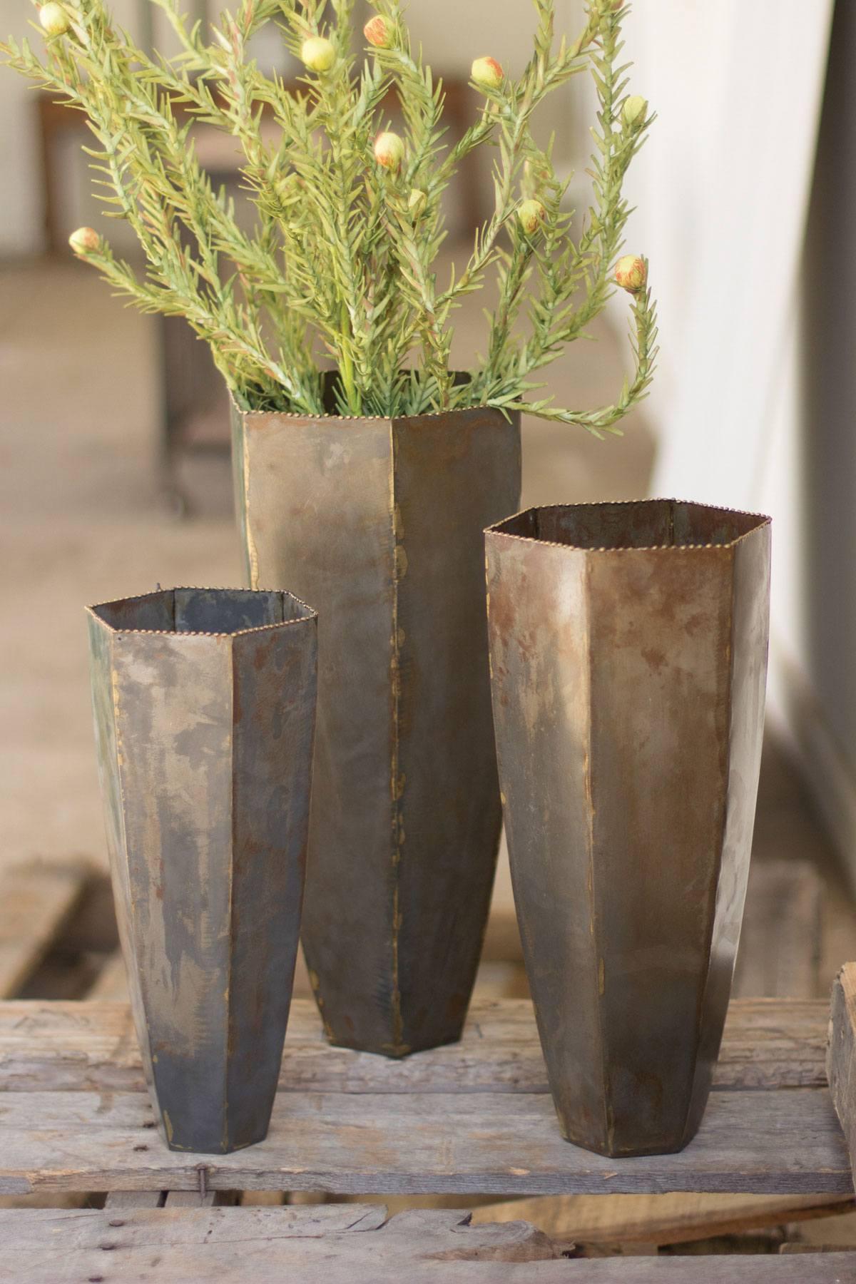 Kalalou Set Of Three Metal Hexagon Vases With Brass Dot