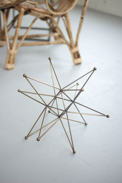 Kalalou Three Dimensional Star with Antique Brass Finish