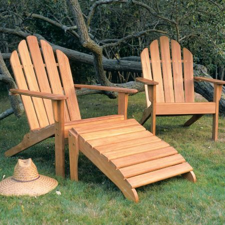 Kingsley Bate Adirondack Chair Pair and Ottoman