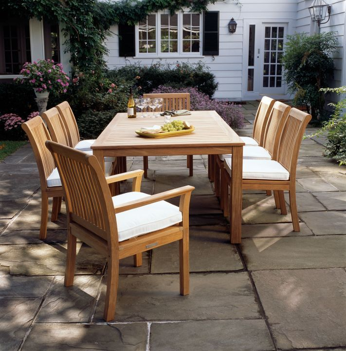 Kingsley Bate Chelsea Dining Arm and Side Chairs Shown with Wainscott 85 Rectangular Dining Table